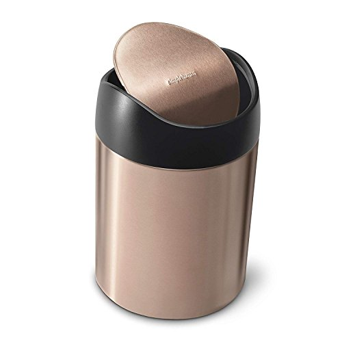 (simplehuman 1.5L, Rose Gold countertop Trash can)