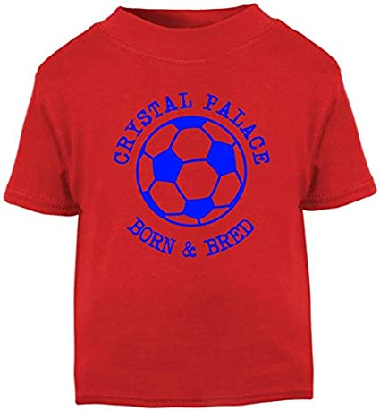 Crystal Palace Football Baby Childrens T-Shirt Top-Red-Born /& Bred-Unisex Gift Hat-Trick Designs