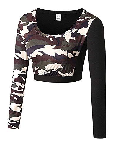 À couleur Chic Taille Longues Brun Short Avec Imprimé Sweat Grand Vert Manches Camouflage Zhrui EwqF4w