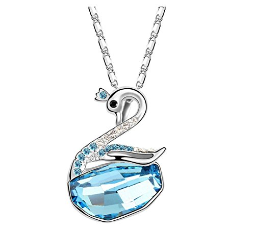 The Starry Night Cartoon Swan Blue Crystal Pendant Silver Clavicle Chain Necklace for Females