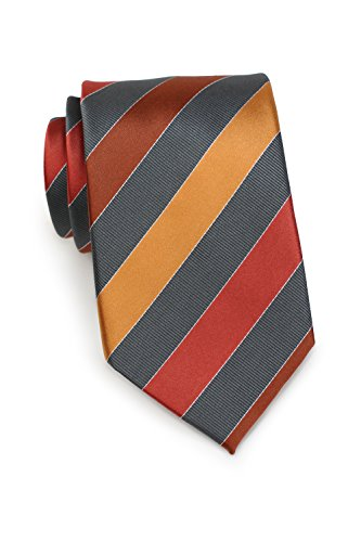 (Bows-N-Ties Men's Necktie Classic Striped Silk Satin Tie 3.25 Inches (Cognac and Brown))