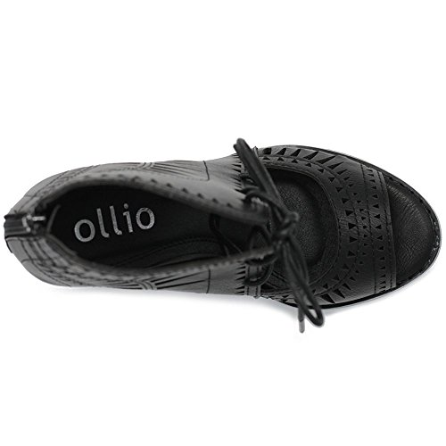 Ollio Scarpa Modo Ritaglio Sandalo Nero Tallone Caviglia Up Donne Lace Bootie w66TE