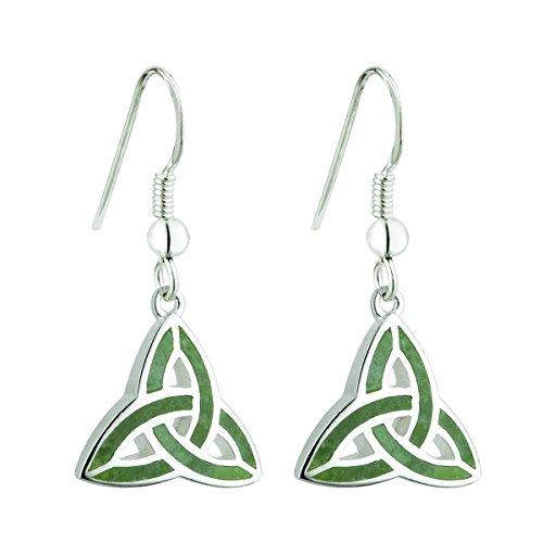 Trinity Knot Earrings Sterling Silver & Connemara Marble Fishhooks