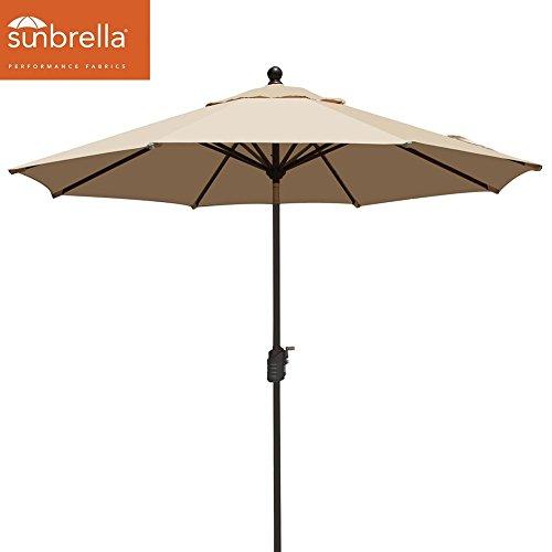 eliteshade Elite Shade Sunbrella 9Ft Market Umbrella Patio Outdoor Table Umbrella with Ventilation,Bonus weatherproof Cover (Aluminum Frame,Sunbrella Beige) (Canopy Sunbrella Covers)