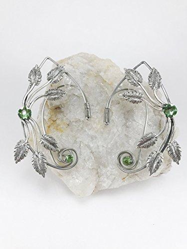 Elven Ear Cuffs Silver Wire with Leaf Metal Findings, Fairy Ear Cuffs, Cosplay Elf Ear Cuffs, Fantasy Costume Ear Cuffs, Woodland Fairy Ear Cuffs