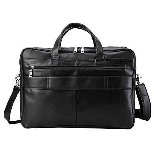 Polare Men's Real Leather Professional 17.7'' Briefcase Shoulder Messenger Business Bag by Polare (Image #3)