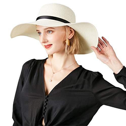 Sun Hat for Women Foldable Roll up Beach Sun Straw Hat Womens Wide Brim Straw Hat upf50+ (Milky White)