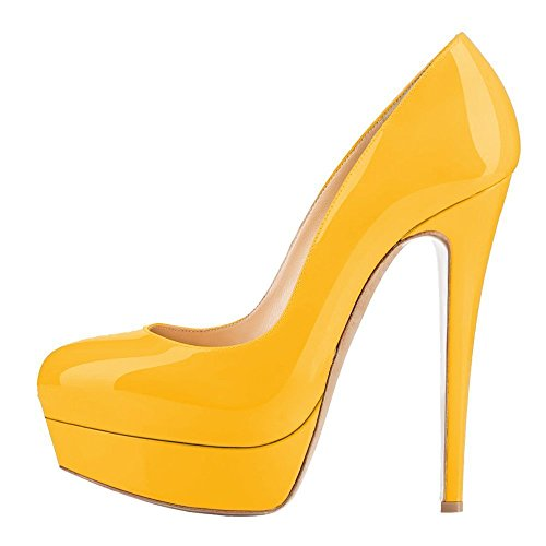 Dress UMEXI Yellow Pumps Slip Women Party On Stiletto Wedding Platform Round Heel for High Shoes Toe gqHraPSwg