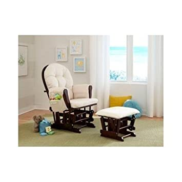 Beige Bowback Glider Rocker Chair with Ottoman Beige Cushions - Espresso Finish - Padded Arms -  sc 1 st  Amazon.com : rocking chair with ottoman for nursery - Cheerinfomania.Com