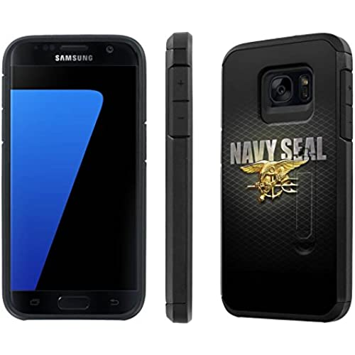 Galaxy [S7] [5.1 Screen] Defender Hybrid Case [SlickCandy] [Black/Black] Dual Layer Protection [Kick Stand] [Shock Proof] Phone Case - [Navy Seal ] for Samsung Sales