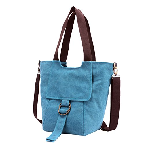 Wewod Mujeres Vendimia Bag Bolsos bandolera Mutil Function Bag Crossbody Bag Tote Carteras de mano Lona Bolso de Hombro Shopper Totes Bolsa Bolso de Escuela Bolsa de Viaje (Beige) Azul