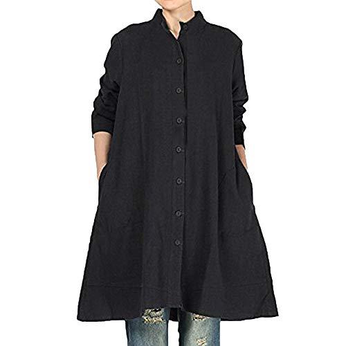 Chemise Chemisier Longues T Noir Chemisier Shirt Beikoard Tops Poche Couleur Unie Femme pour Coton Bouton de en Chic de Manches Femme 1wqZf
