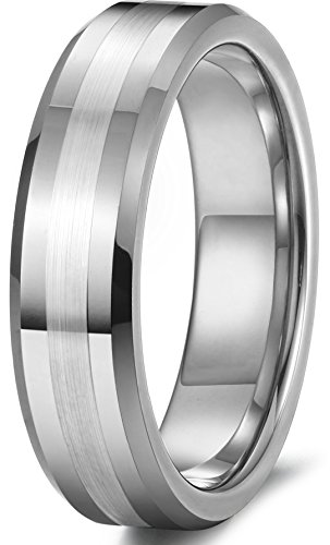 Tungary 6mm Tungsten Rings for Men Women Wedding Band Engagement Promise Matte Finish Size 6.5