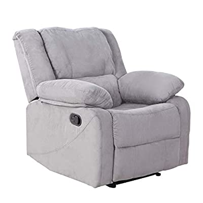 Single Recliner Microfiber - LCH Contemporary Ergonomic Lounge Wall Hugger Reclining Sofa Chair with Padded Armrest Napping Furniture Seat for Living Room