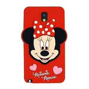 Rojo Minnie Mickey Mouse La funda de silicona suave cubierta protectora para Samsung Galaxy Note 3 III N9000 N9005 N9006 N9009 with CableCenter Cable Tie