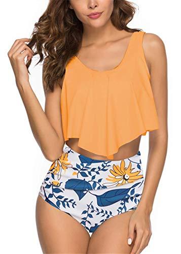 Tivifox Womens Flounce High Waisted Sexy Two Piece Halter Print Bikini Swimsuits Plus Size Tummy Control Yellow M ()
