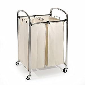 seville classics mobile double bag compact laundry hamper sorter cart chrome