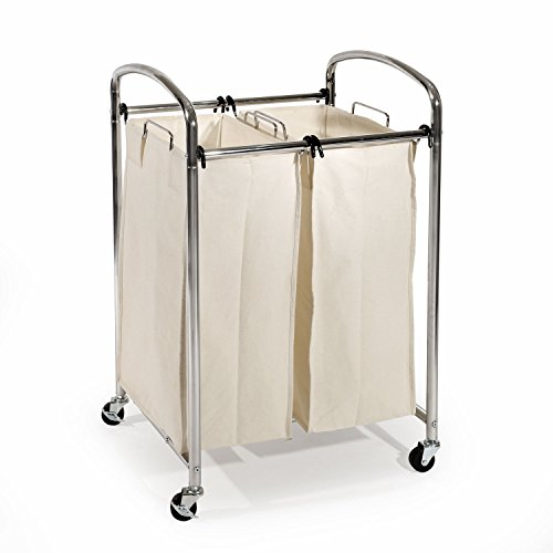 Seville Classics Mobile Double Bag Compact Laundry Hamper Sorter Cart, Chrome