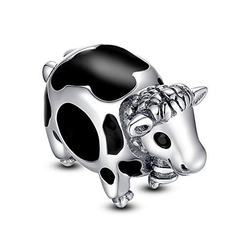 Glamulet Art Women's 925 Sterling Silver Purple Enamel Spot Cow Charm Fits Pandora Bracelet