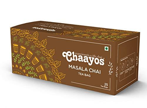 Chaayos Tea Bags – Masala Chai with 100% Natural Spices – [25 Tea Bags] | Masala Tea | Masala Tea Bags | Classic Assam…