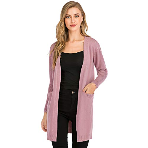 BIG ELEPHANT Cardigan Sweaters for Women, Lightweight, Fall, Open Front, Soft, with Pockets (Pink, L)