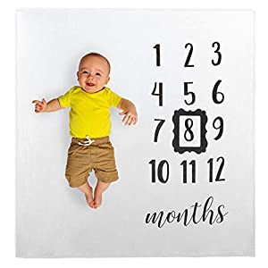 Lily Baby Monthly Milestone Blanket Photo Shoot Back Drop Props, Reusable Infant Baby Photography Background, Baby Swaddle Blanket with Frame, Months 1-12 Cotton Muslin Blanket