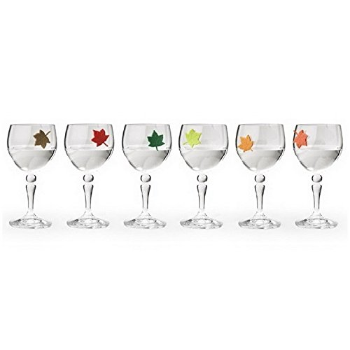Unique Wine Charms Leaf my Glass by Qualy Design Studio. Unusual Glass Charms - Great Gift for Wine Lovers. Six Glass Markers in the Set. Multicolor. (Halloween Drink Labels Printables)