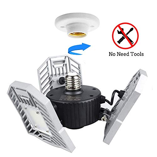 Garage Lights Tanbaby Garage Light Deformable LED Garage Lights 6000lm 60W Tribright LED Adjustable Light Garage Lighting Garage Light Bulb Shop Light for Garage, Working Light Premium(NO Sensor)