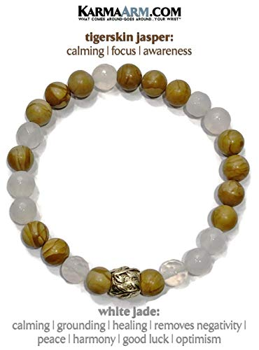 Boho Meditation Jewelry | COMPASSION: White Jade | Tigerskin Jasper | Reiki Healing Yoga Jewelry & Beaded Bracelets (Gold Jade White Bangles)