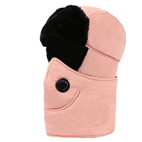SOOCO Mens Warm Bomber Hat Máscara A Prueba De Viento Winter Ear Flap Unisex Ushanka Para El Esquí De Patinaje Hikin SnowTeethPowder