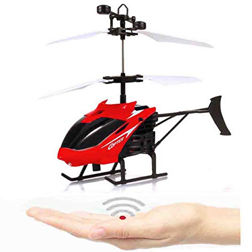 NiGHT LiONS TECH Novelty RC Toy, RC Flying Helicopter Drone , Mini Infrared Induction Helicopters Hand Sensor Airplane Outdoor Indoor Games Electric Toy Gift for for Kids ,Teenagers and Adults - red ()