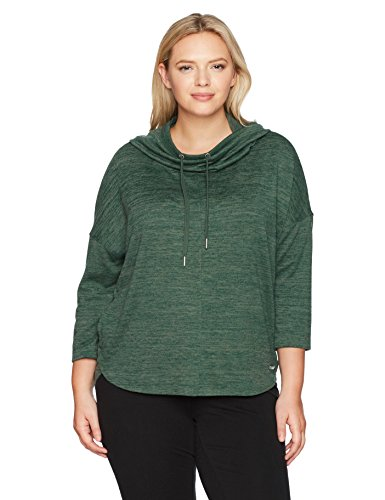 Calvin Klein Performance Women's Plus Size Cowl Neck Hoodie Curved Hem Pullover, Vine Combo, 1X