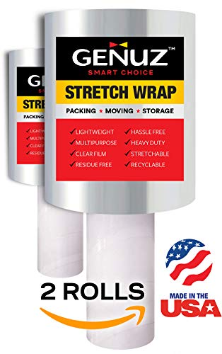 2 Rolls of The Ultimate Stretch Wrap Film for Moving Wrap, Packing Materials, Furniture Wrap - Superior Shrink Wrap Roll with Handle - True 80 Gauge Shrink Film, 5 inches x 1000 Feet - USA Made