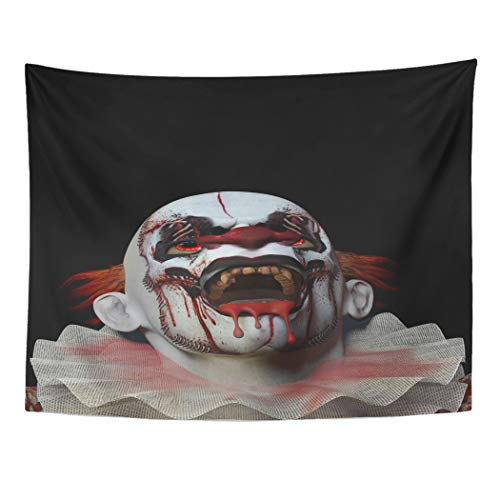 Semtomn Scary Clown Looking Up Crazed Blood Dripping from His Home Decor Wall Hanging Taperstries ()