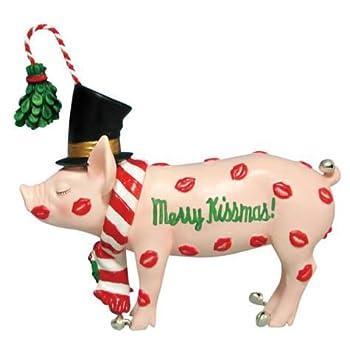 "WL SS-WL-16853 4.5"" Merry Kissmas Holiday Decorated Pig Figurine Statue"