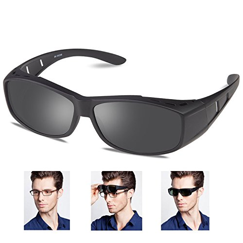 Over glasses sunglasses Polarized for men women/Sunglasses Wear Over /fit over Prescription Glasses UV400 Outdoor sports Driving sunglasses (Matte Black, 2.56)