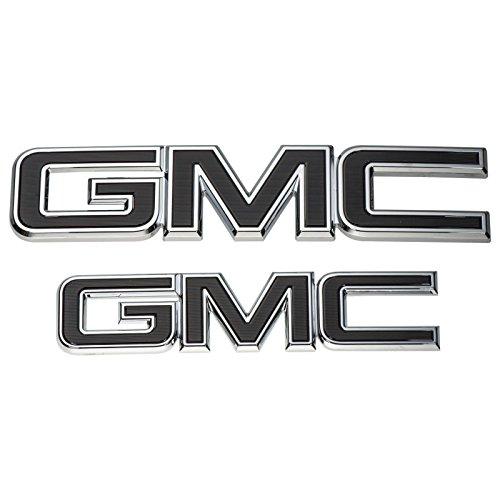 (2015-2018 GMC Yukon Black Emblem Kit 84395036 Front & Rear Genuine OEM GM)