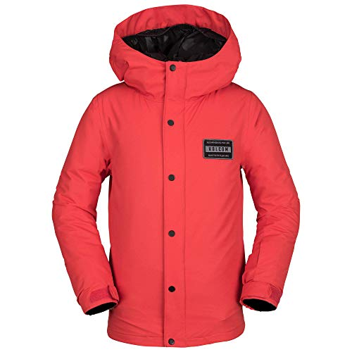 (Volcom Boys' Big Ripley Insulated Relaxed Fit Snow Jacket, fire red, Large)