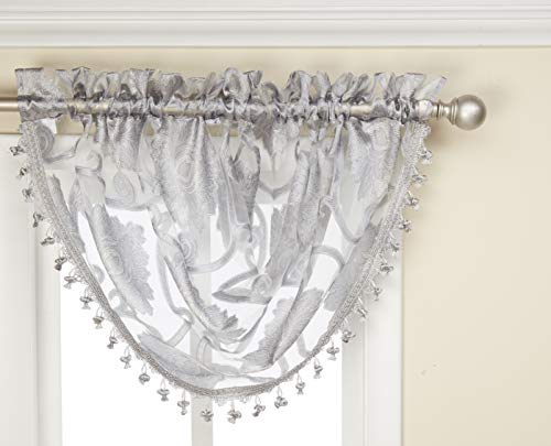 Regal Home Collections Milawi Sheer Jacquard Scroll Waterfall Valance, 57 by 37-Inch, - Waterfall Grey