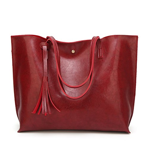 Nodykka Women Tote Bags Top Handle Satchel Handbags PU Pebbled Leather Tassel Shoulder Purse,One Size,Wax Red ()