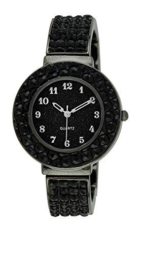 Black Jeweled Ladys Watch - Moulin Women's Jeweled Expansion Watch Midnight Black #18651.77054