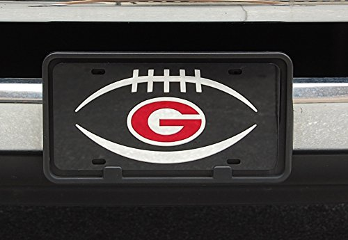 Sports Addiction Georgia Bulldogs Mirror Laser License Plate Tag Black background, Silver, Mirror Red - Football and G - Bulldogs Georgia Logo Plate