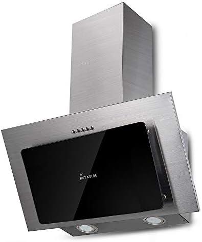 Campana extractora de pared (60 cm, acero inoxidable, cristal negro, iluminación LED, 3 niveles, pulsadores) BASE604ED - KKT KOLBE: Amazon.es: Grandes electrodomésticos