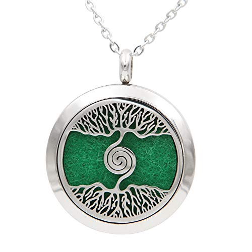 tial Oil Diffuser Necklace, Tree of Life Pendant, Stainless Steel, with Refill Pads, Aromatherapy Jewelry, 23.5