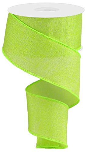 Shiny Solid Canvas Wired Edge Ribbon, 10 Yards (Lime Green, 2.5