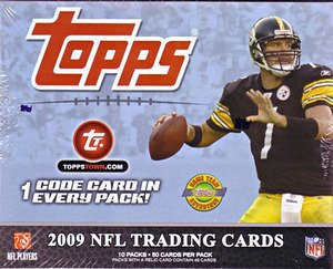 2009 Topps Football Cards - Jumbo Hobby Box (10 packs/box, 50 cards/pack)- 2 Autos, 1 Relic Per - Sports Cards Elite