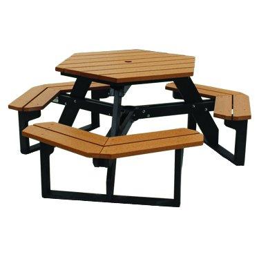 hexagonal commercial picnic tables plastic w frame - Commercial Picnic Tables