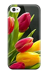 New Tpu Hard Case Premium Iphone 4/4s Skin Case Cover(tulips Flower)