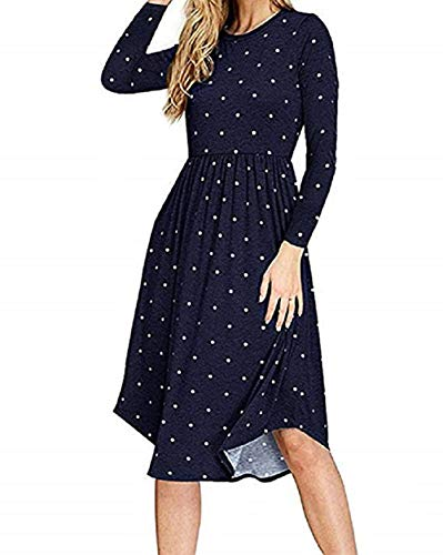 PALINDA Women's Summer Short Sleeve Pleated Polka Dot Swing Midi Dress with Pockets (L, Navy Blue2)