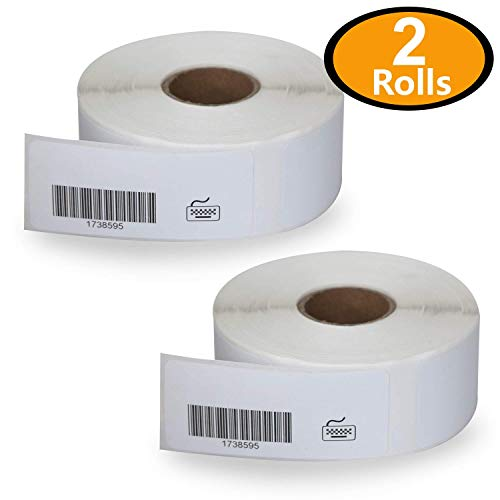 2 Rolls Dymo 1738595 Compatible 3/4 x 2-1/2 Barcode/File Labels